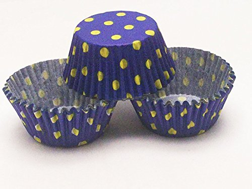 "Package of 48Pcs Disposable Baking Cups MINI Round Royal Blue & Yellow Polka Dot Standard Size Paper Cupcake Liners Cake Decorating Supplies for Wedding Birthday Party Size 2"" X 1.25"" tall"