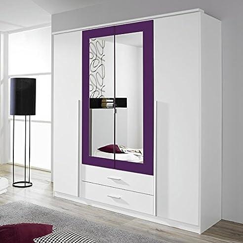 Kleiderschrank Weiß / Lila 4 Türen B 181 Cm Brombeer Schrank  Drehtürenschrank Wäscheschrank Spiegelschrank Kinderzimmer Jugendzimmer