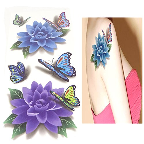 Temporary Tattoos yueton 8 Sheets 3D Colorful Flower Butterfly Body Art Temporary Sticker Lotus Cherry Blossoms Flash Tattoo Designs For Women and Girls]()