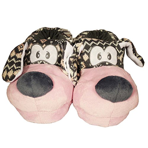 Womens Childrens Girls Adult Novelty Slippers Nordic Dog 3D Funny Fun Winter New Pink XU9To