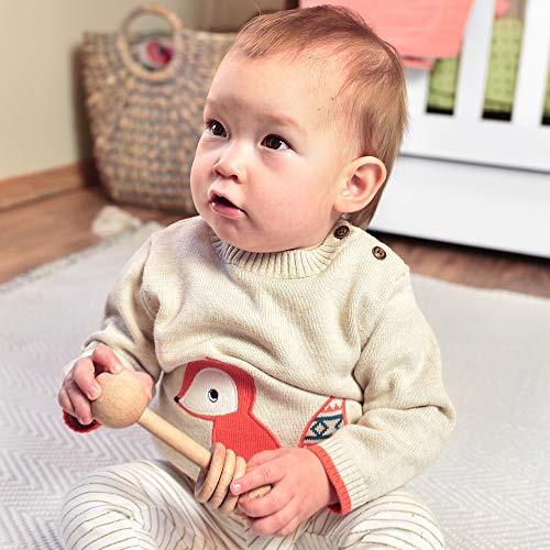 Jam Naturals- Wood Baby Rattle - Montessori Inspired Rattle for Babies