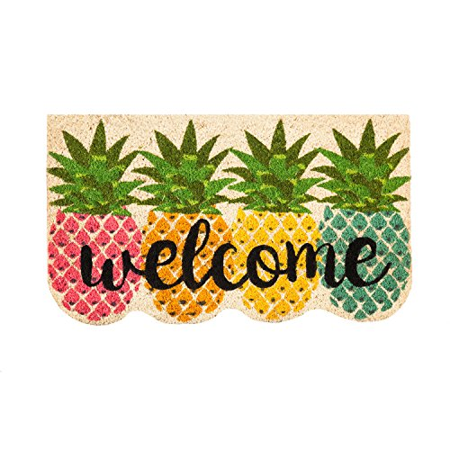 Evergreen Flag 2RM417 Colorful Pineapples Shaped Coir Mat, Multi (Decor Pineapple Welcome)