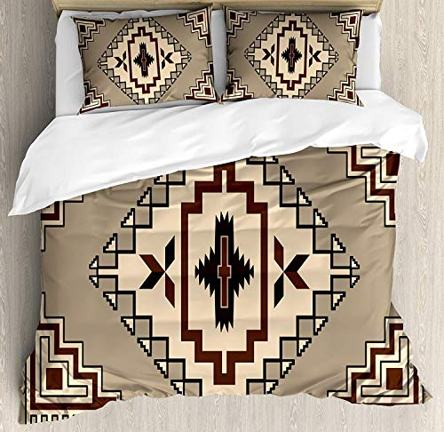 SINOVAL Geometric Duvet Cover Set King Size, Primitive Culture Pattern Native American Ornament Orient Tribal Elements,Fashion 3 Piece Bedding Set with 2 Pillow Shams, Cocoa Brown Beige