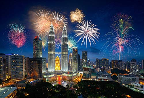 AOFOTO 7x5ft Fireworks City Night Landscape Photo Backdrop Poster Vinyl Malaysia Kuala Lumpur Skyscraper Landmark Twin Towers Modern Urban Cityscape Background for Photography Photo Studio Props