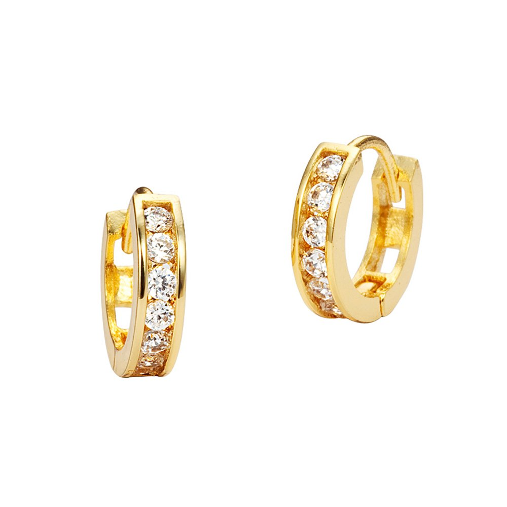 14k Yellow Gold 12mm x 2.5mm Channel Huggie Children Baby Girls Earrings