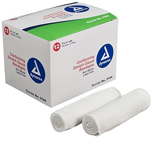 Gauze Non Bandage Sterile Stretch (Dynarex Conforming Stretch Gauze Bandages Wraps 4