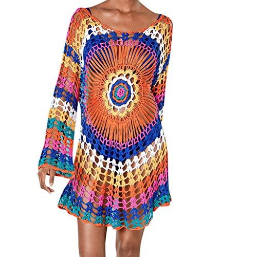 (Womens Summer Bikini Cover Up Swimwear Beach Rainbow Knit Sunscreen Skirt Dress)