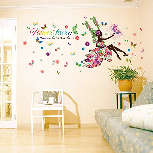 May Flower Home Decor Mural Vinyl pretty Wall Sticker Kids Nursery Room Wall Art Decal Paper Fairy Girls on a Swing Butterflies (1, swing (Ballerina Swing)