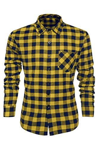 Coofandy Men Casual Button Down Shirt Long Sleeve Plaid Dress Shirts Multi-Colors - Multi Color Plaid Shirt