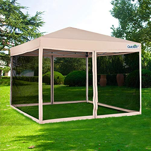 Quictent Ez Pop up Canopy with Netting Screen House Tent Mesh Side Wall Tan, 8 Feet x 8 Feet
