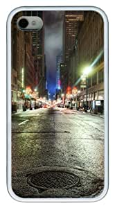 iPhone 4s Case and Cover - Street night Design TPU Polycarbonate Hard Case Back Cover for iPhone 4S and iPhone 4 - White