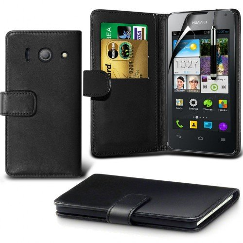 huawei-ascend-y300-leather-wallet-case-cover-blackplus-free-gift-screen-protector-and-a-stylus-pen-o