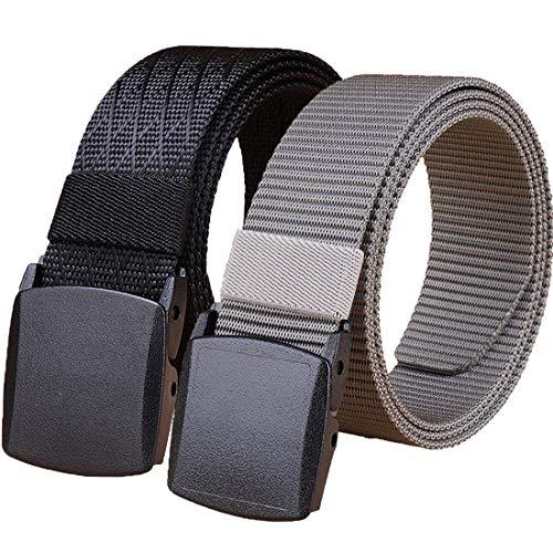 Hoanan Tactical Nylon Belt, 2 Pack Plastic Military Web Belt for Men Outdoor Sports(black/grey)