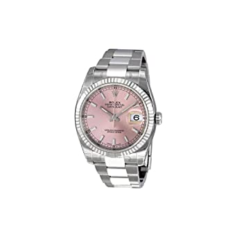 2cf05506fae Image Unavailable. Image not available for. Color: Rolex Datejust Pink Dial  Stainless Steel Oyster Bracelet 18kt White Gold Bezel Mens Watch 116234PSO
