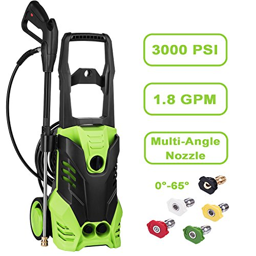 Cheap Moroly Electric Power Pressure Washer, 3000 PSI 1.8 GPM Power Washer 1800W High Pressure Cleaner Machine with Spray Gun and 5 Quick-Connect Spray Tips (3000 PSI)
