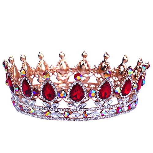 Santfe 2 Height Silver/Gold Plated Crystal Rhinestone Ruby Full Circle Tiara Crown Bridal Wedding Jewelry Hair Accessories (Gold+red)
