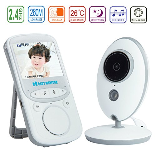 """HMILYDYK Wireless Video Baby Monitor with 2.4"""" LCD Display Digital HD Camera Infrared Night Vision Lullabies Temperature Monitoring & 2 Way Talkback System for Baby Security -  GUMONITOR-VB605F"""