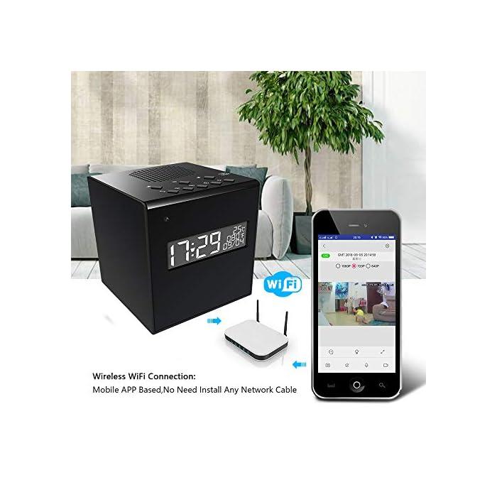 Music Speaker Hidden Camera 1080P Wireless Hidden WiFi Clock Weather  Display Home Surveillance