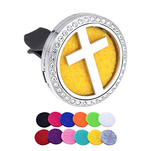 Cross Rhinestone Aromatherapy Car Air Freshener Stainless Steel Essential Oil Diffuser Car Vent Clip 12 Refill Pads - Therapy Rhinestone