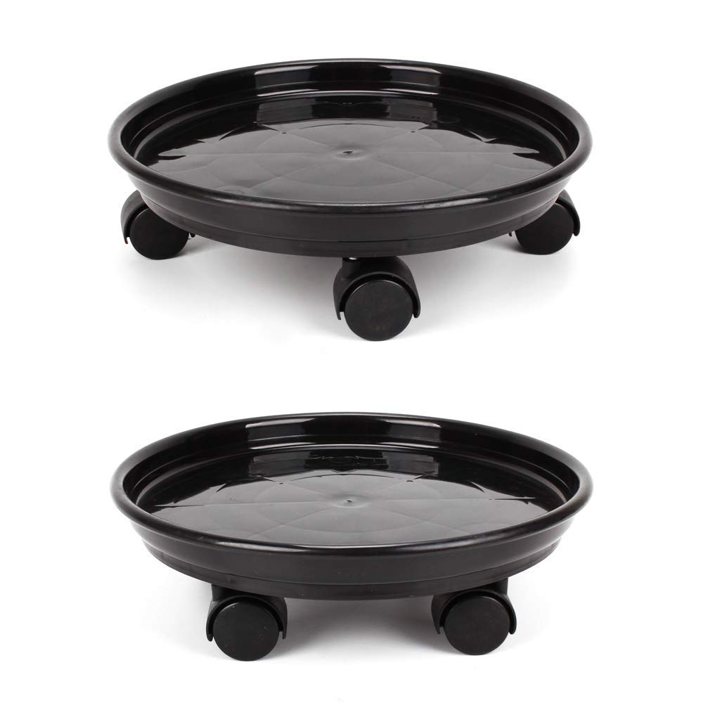 Alapaste 2Pack Plant Pallet Caddy Round Plant Flower Pot Dolly Trolley Saucer Moving Tray Pallet with Four Wheels Home Garden Tools Black