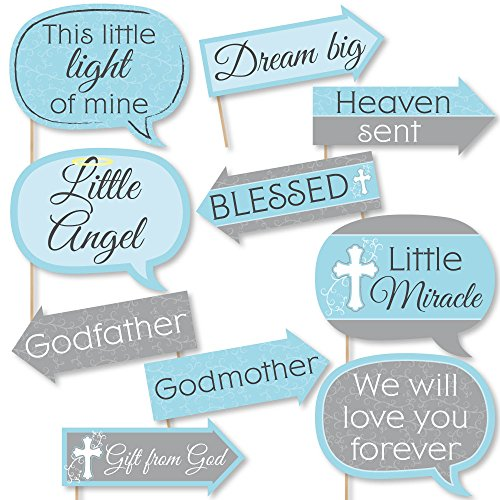 Funny Little Miracle Boy Blue & Gray Cross - Baptism or Baby Shower Photo Booth Props Kit - 10 Piece
