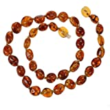 Baltic Amber Teething Necklace for Baby By Amber Beata - Cognac Honey Olive-shape - Safety Knotted, 100% Genuine Baltic Amber Teether Amber Necklace
