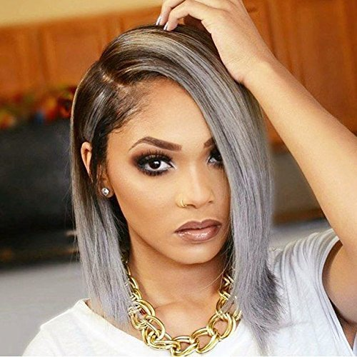 Grey Ombre Wig Short Haircut For Women Synthetic Lace Front Wig Heat