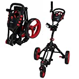Caddymatic Golf 360° SwivelEase 3 Wheel Folding Golf Cart (Black/Red)