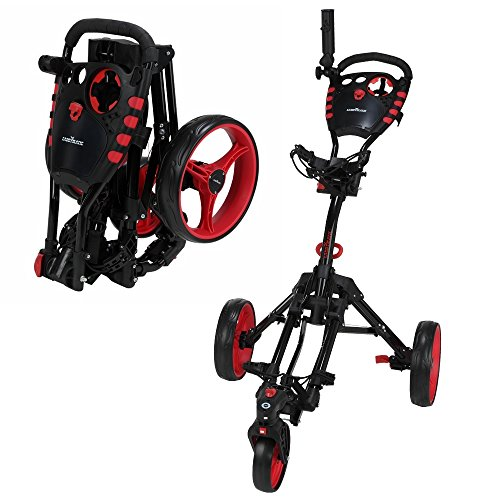 Caddymatic Golf 360° SwivelEase 3 Wheel Folding Golf Cart Black/Red by Caddymatic