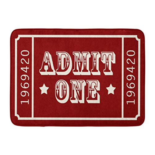 Allenava Bath Mat Red Americana Whimsical Circus Theatre Ticket Admit Movie Bathroom Decor Rug 16'' x 24'' by Allenava