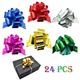 """24PCS Gift Pull Bows- 4"""" Wide,6 Colors Gift Wrapping Christmas Wedding Valentine's Day Present Decoration Pull Bows: more info"""