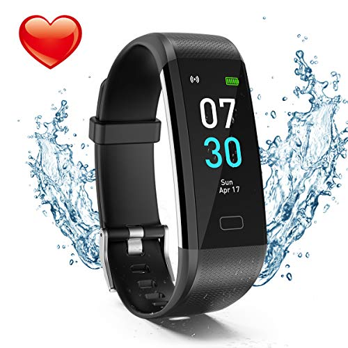 Fitness Tracker, Activity Tracker Watch with Heart Rate Monitor, Waterproof IP68 Pedometer with Step Counter Sleep Monitor Calorie Counter for Android & iPhone(2019 New Model) (Black)
