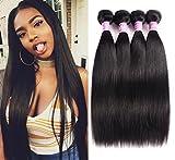 Magic Show 10A Peruvian Virgin Hair Straight 4 Bundles 18'' 20'' 22'' 24'' Peruvian Straight Hair Unprocessed Human Hair Weave Peruvian Hair Weave Bundle Natural Black