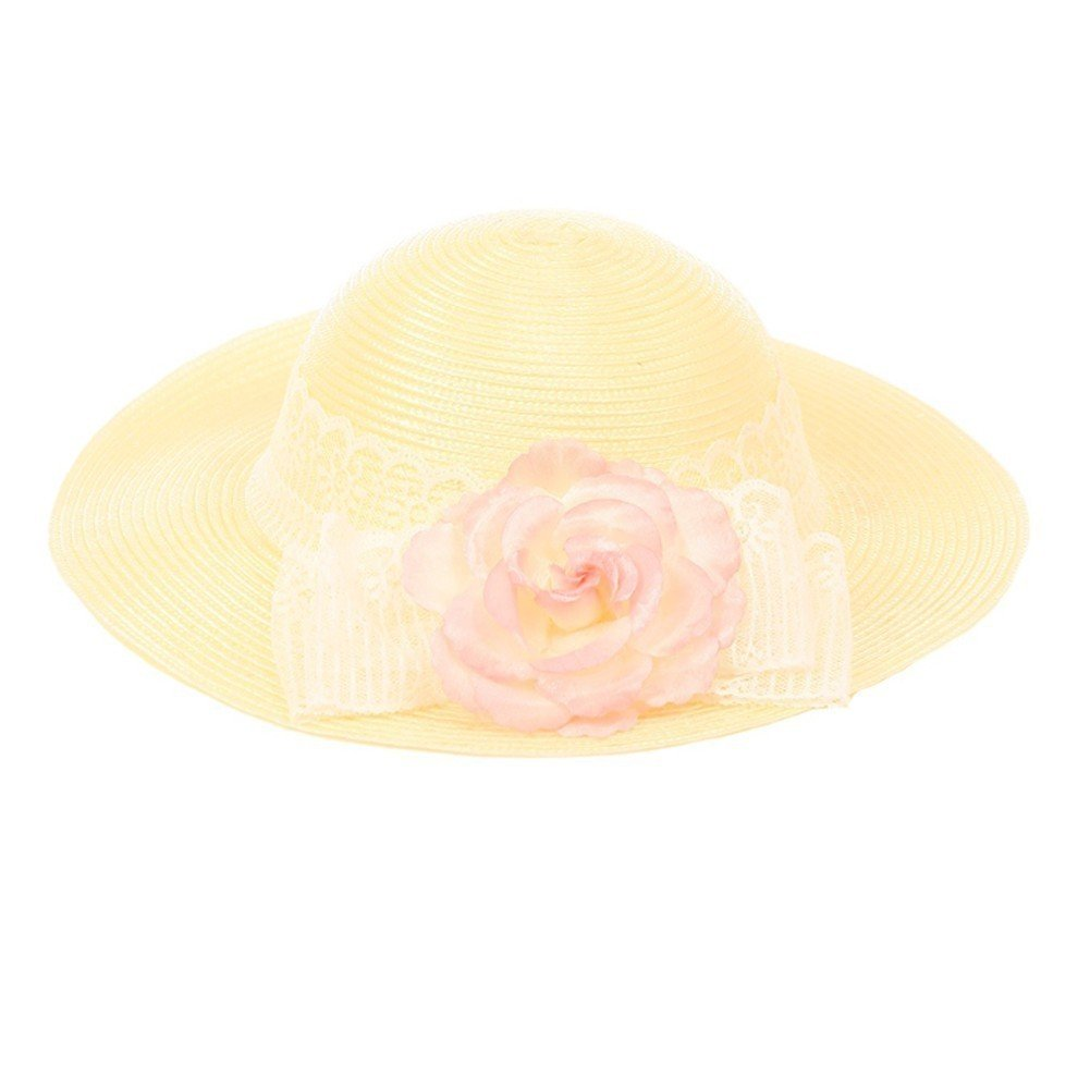 Kid's Dream Girls Straw Pink Detachable Flower Lace Adorned Summer Hat 20''