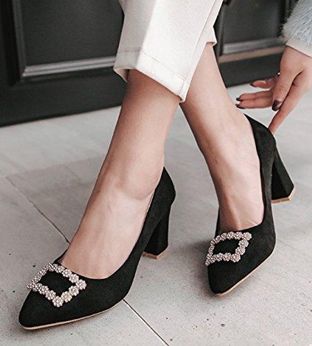 Aisun Womens Elegant Rhinestone Dressy Low Cut Chunky High Heel Pointed Toe Slip On Pumps Shoes Black Pd2DHm
