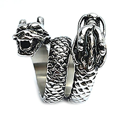 [Men's Stainless Steel Finger Rings Double Dragon Heads Silver Black 3cm Size 9] (Costume Rings Dublin)