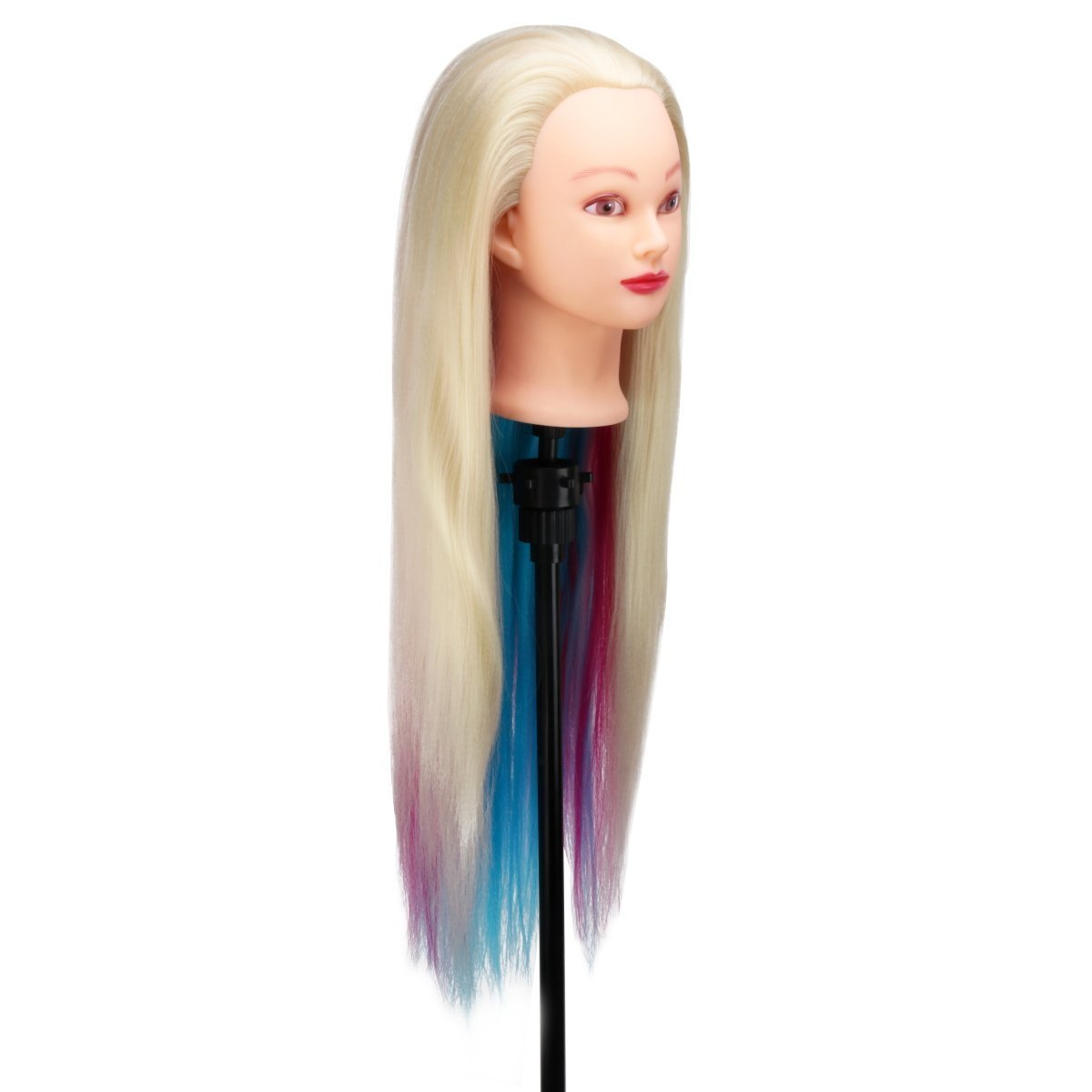 MYSWEETY 29 Inch Colorful Hair Mannequin Head Hairdressing Practice Training Doll Heads Cosmetology Hair Styling Mannequins Heads with Clamp + Practice Tools by MYSWEETY (Image #4)