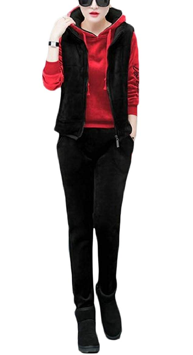 1 pujinggeCA Womens Autumn Fleece Velvet Thick Sport Jogging 3 Piece Tracksuit