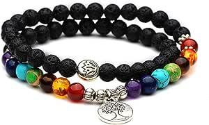 YAZILIND 7 Chakra Reiki curación Natural de la oración de Piedras Preciosas con Cuentas Yoga Equilibrio Estiramiento Encanto Pulsera árbol de la Vida Pulseras Colgantes