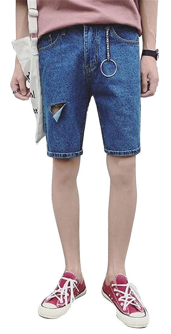 SHOWNO Mens Slim Ripped Destroyed Summer Fashion Denim Shorts Jeans