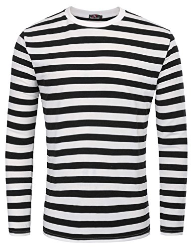 PAUL JONES Black and White Striped Shirt Crew Neck Cotton T-Shirt,Black (Narrow Stripe),Medium