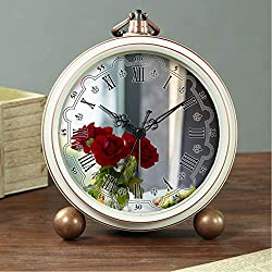 GIRLSIGHT Art Retro Living Room Bedroom Decorative Non-Ticking, Easy to Read, Quartz, Analog Large Numerals Bedside Table Desk Alarm Clock-093.Three Red Roses in Clear Vase Centerpiece