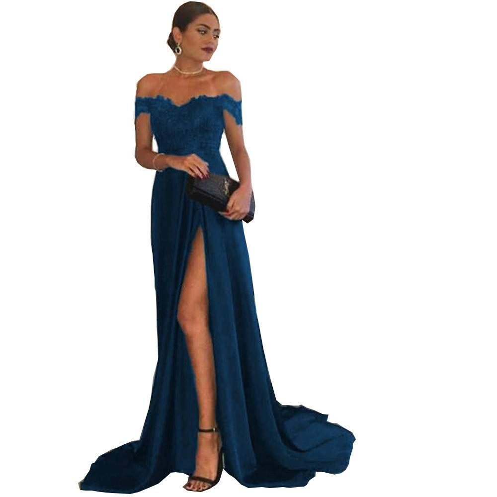 bluee Darcy74Dulles Women's Burgundy Satin Off The Shoulder Evening Dresses Long Front Split Prom Party Gowns Dresses for Women