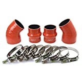 HPS 57-1576 Orange High Temp Aramid Reinforced Silicone Intercooler Turbo Hose Boots Kit with T Bolt Clamps