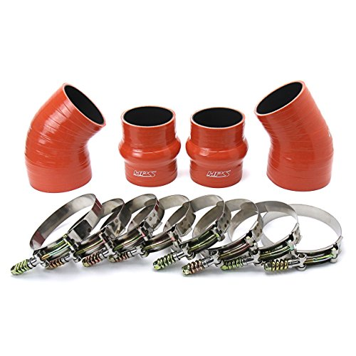 (HPS 57-1576 Orange High Temp Aramid Reinforced Silicone Intercooler Turbo Hose Boots Kit with T Bolt Clamps)