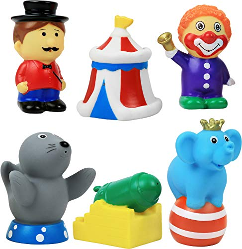 Click N' Play 6 Piece Circus Figurine Play Set for Kids, Soft Touch Vinyl Figurine Bath Toy.