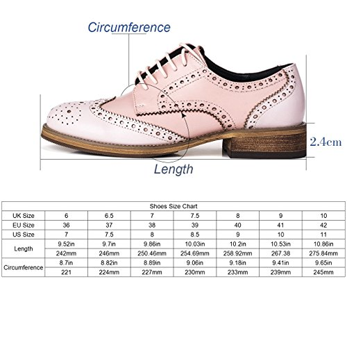 Lace Leather Pink Shoes up Brogue Women's Casual Oxford ASxwnqxgX