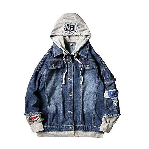 Realdo Men's Jeans Jacket, Mens Splicing Denim Pullover Long Sleeve Hooded Sweatshirt Tops Blouse(3X-Large,Dark Blue)