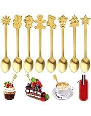 GLAITC Jul kaffeskedar, 8 stycken skedar i rostfritt stål med filt förvaringsväska kaffe te efterrätt blandningsskedar julstil glasssked kök servis för julstrumpa fyllmedel