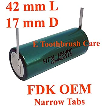 FDK OEM NiMH Replacement Battery compatible with Braun Oral-b Smart Series Toothbrush, with Narrow tabs, (42L x 17D mm, 2150 mAh)